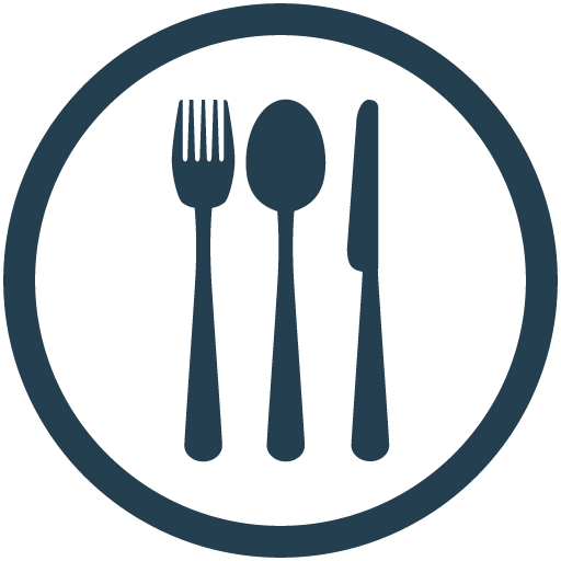 Dark Blue Fork Spoon Knife Icon