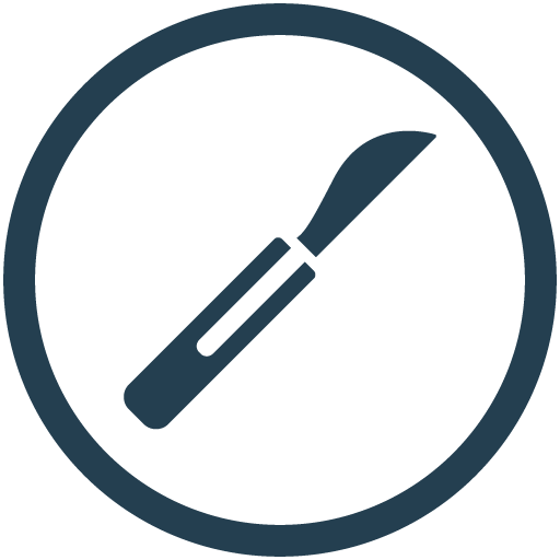 blue scalpel knife icon